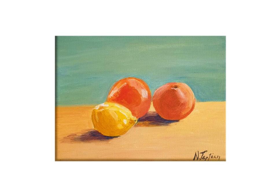 Citrus fruits of the garden: lemon, orange and a tangerine