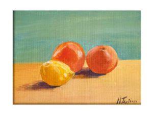 Citrus fruits art, dead nature art, citrus fruit hand painted canvas