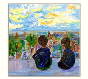 Original Boys painting, friendship painting, hand painted canvas,kids room painting, friendship present, evenings on the rooftop, kids room painting, nursery painting, playroom decoration