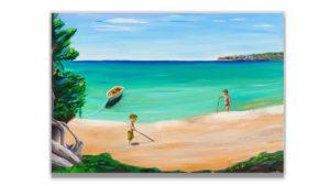 original seascape painting on canvas,hand painted, kids painting, boys on canvas,beach of Greece wall art, oil painting,kids room, nursery