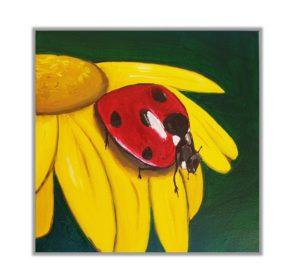 hand painted animals, Ladybug painting, original painting for kids room,flower painting, oil painting,nursery decoration,playroom decoration