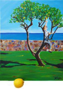 Lemon tree painting on canvas, tree painting, Crete painting, original painting, hand painted tree, boy canvas, children room, nursery