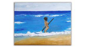 Boy on the beach painting, original beach painting on canvas, beach of Crete painting, hand painted, oil painting, children room art, nursery painting