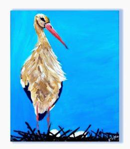 birds wall art, Original animal painting, birds of Crete, Stork,bird painting canvas, bird migration,kids room, nursery painting, kids painting