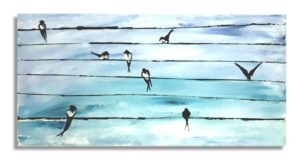 original animal painting, Swallows painting, birds of Crete painting, hand painted canvas, kids canvas, children room, nursery paintings, kids room canvas