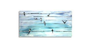 original animal painting, Swallows painting, birds of Crete painting, hand painted canvas, kids canvas, children room, nursery, kids