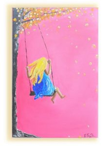 tree swing painting, original kids room painting, Gold leaf painting, girl hand painted canvas, children room, nursery decoration ,playroom decoration