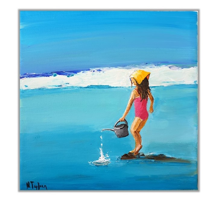 Girl on the beach and a watery pot