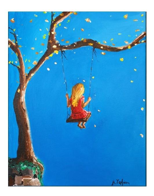 Girl on tree swing (Gold leaf decoration)