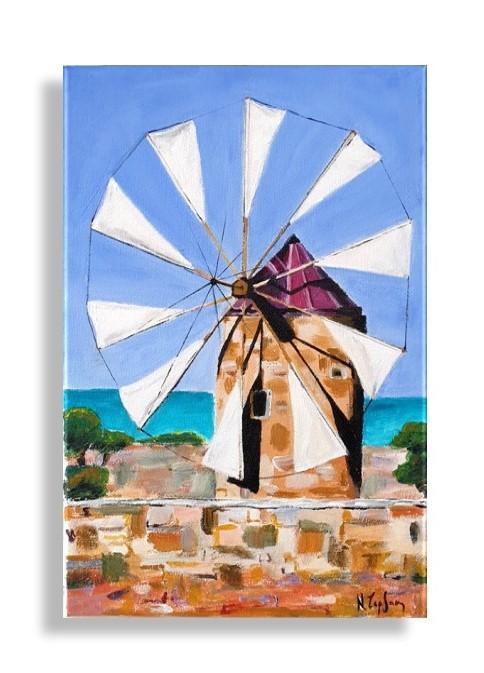 Windmill of Crete in acrylics